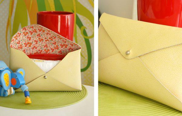 DIY Pochette cuir sans couture jaune