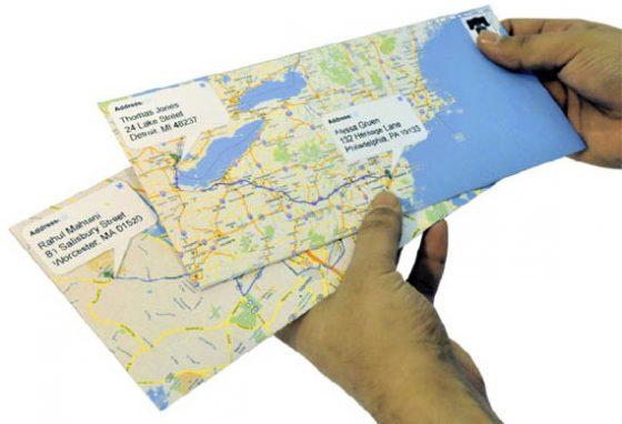 diy enveloppe google maps