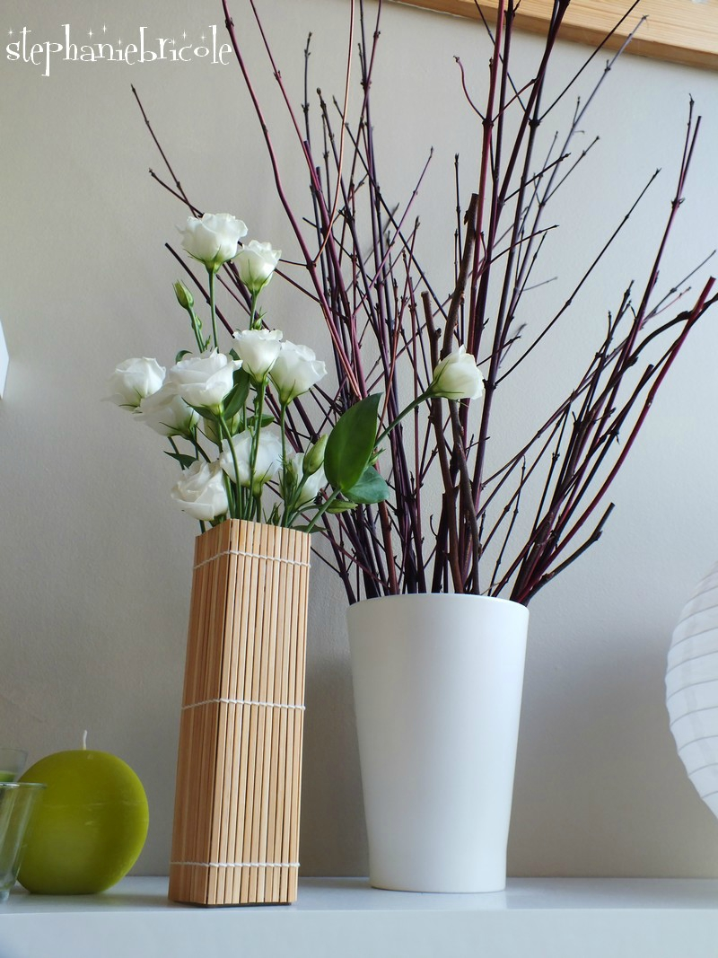 diy vase en bambou avec un set de table. Black Bedroom Furniture Sets. Home Design Ideas