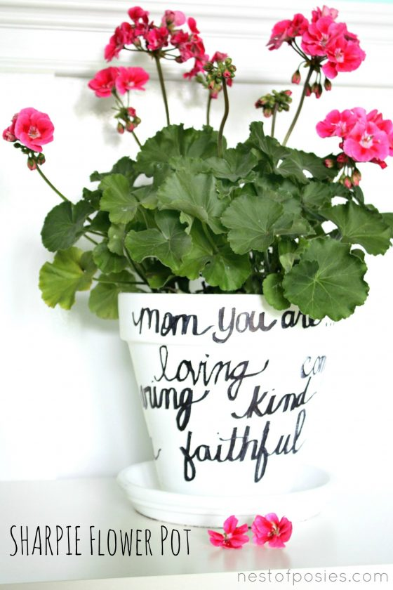 DIY pot de fleur avec texte