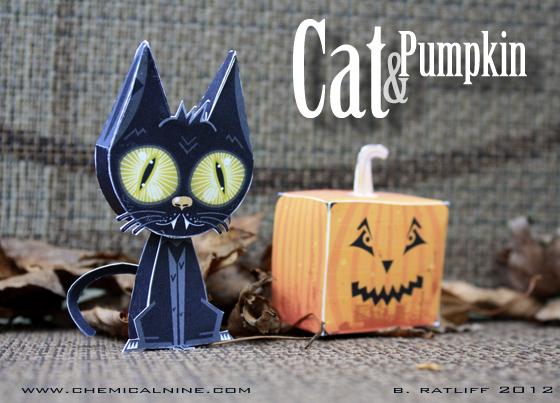 DIY Papertoys d'Halloween chat noir et citrouille