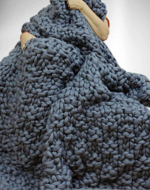 Diy maxi laine maxi couverture maxi tapis en laine g ante - Tricoter avec les bras grosse laine ...