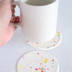 DIY Dessous de verre ou dessous de tasse confetti en pâte FIMO