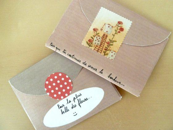 DIY enveloppes faites main avec des graines dedans