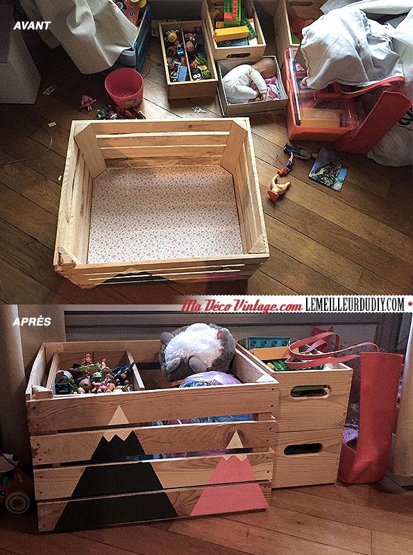 DIY caisse en bois vintage avant après