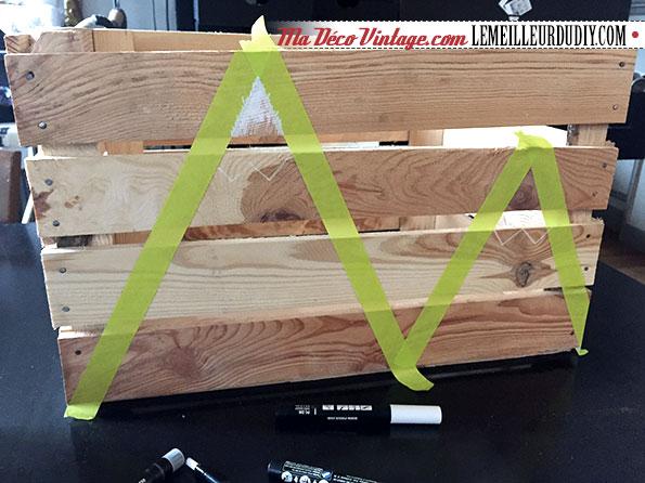 DIY caisse en bois vintage étape 2