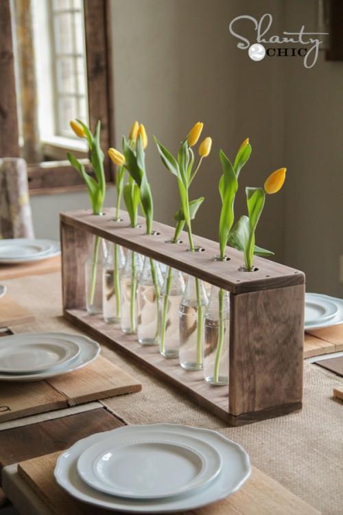 DIY Vase et bouteilles avec des fleurs