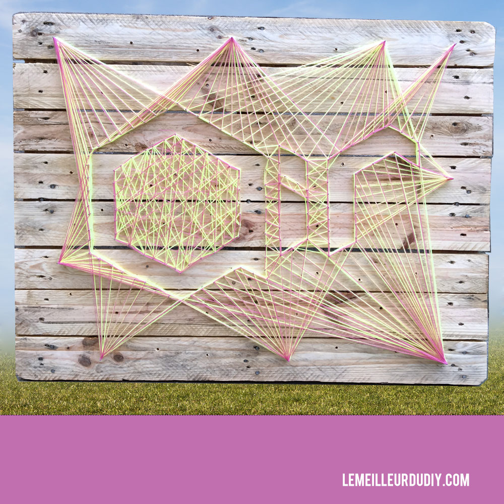 DIY tutorial string art sur une palette