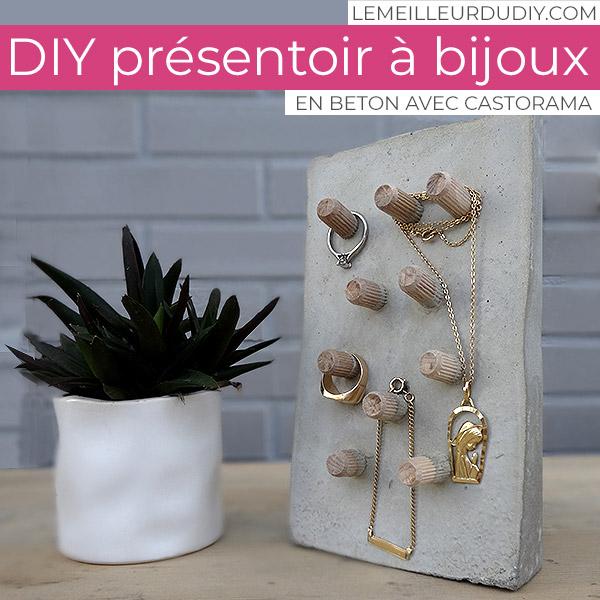 DIY Présentoir à bijoux en béton réalisé par Magali Thiébaud avec Castorama