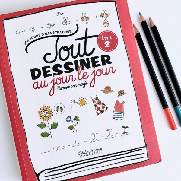 J'ai testé le livre Tout dessiner au jour le jour Tome 2 par Magali THIEBAUD du blog Le Meilleur Du DIY couverture