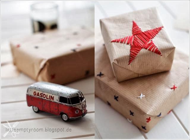 diy papier cadeau brodé pour noel etoile