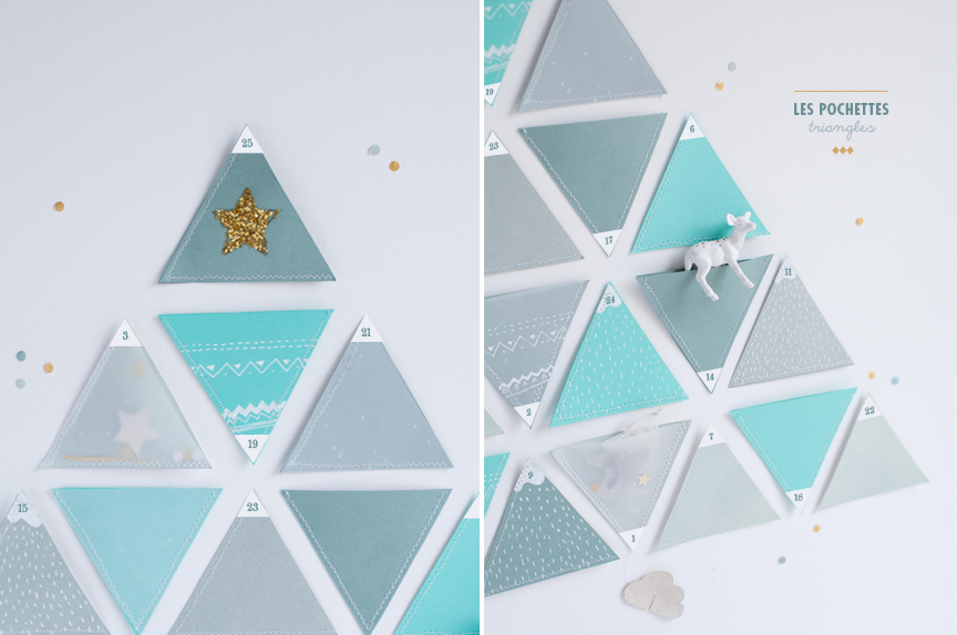 diy calendrier de l 39 avent pochettes triangles le. Black Bedroom Furniture Sets. Home Design Ideas