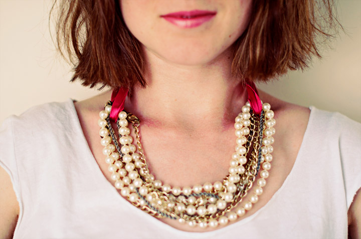 Collier facile perles et chaines