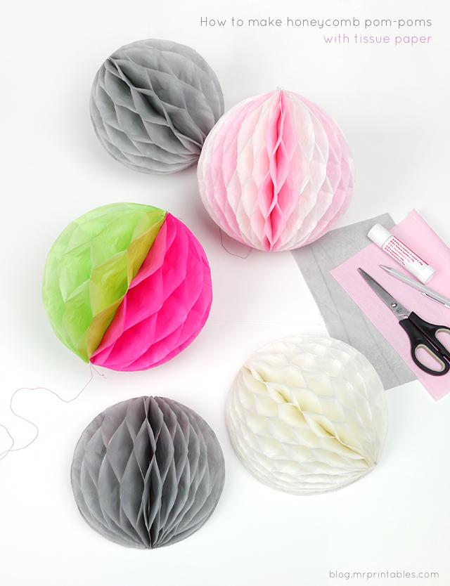 DIY pompon de papier coloré