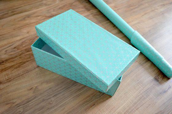 Boite de rangements recouverte de papier