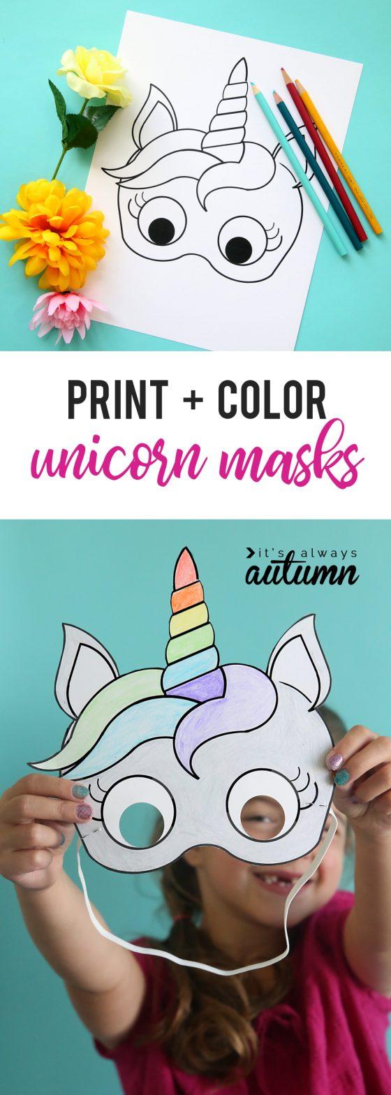 DIY masque pour halloween en forme de licorne